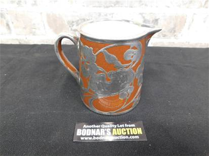 Heavy Silver Overlay Pottery Pitcher