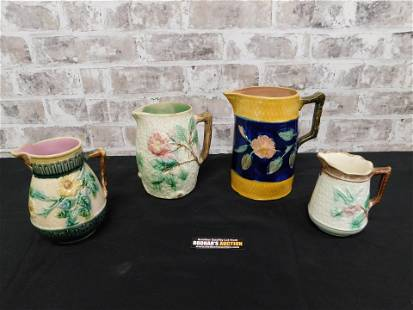 Group Lot of Early Majolica Pitchers