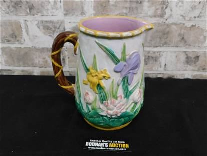 Turn of the Century Majolica Pitcher with Flower Motif