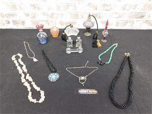 Lot of Perfume Bottles and Costume Jewelry