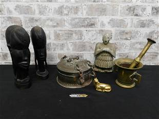 Group Lot including African Statues and Brass