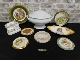 Lot of Hand Painted Porcelain Dishes