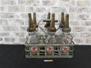Lot of 6 Texaco Gasoline Oil Bottles with Carrying Case