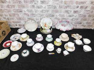 Group Lot of Cups, Saucers and Hand Painted Porcelain