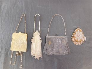Lot of 4 Antique Purses - Mesh and Beaded