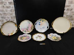 Lot of 7 Hand Painted Porcelain Plates