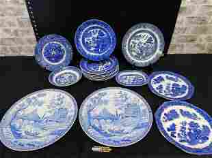 Lot of Flow Blue Dishes