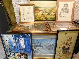 Lot of 8 Framed Pieces of Art including Prints
