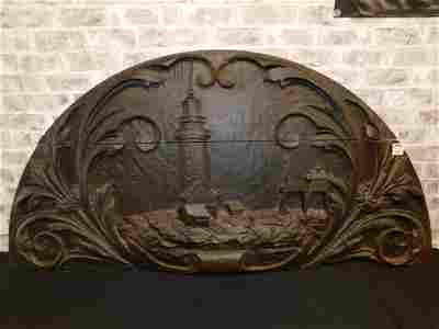 Hand Carved Wood Half Moon Panel