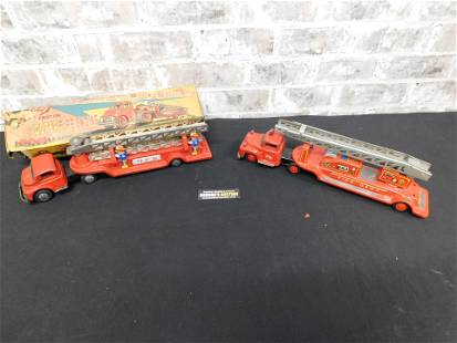 Lot of 2 Tin Plated Friction Toy Fire Trucks