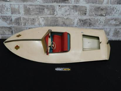 Vintage Tin Plated Toy Boat