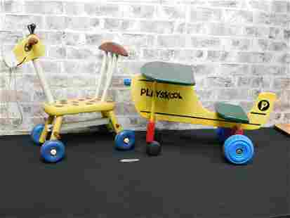 Lot of 2 Playskool Wooden Ride On Toys