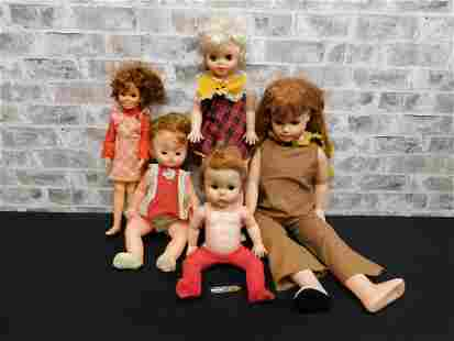 Box Lot of Vintage Plastic Dolls