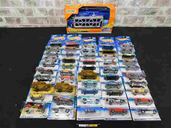 Box Lot of 50 Carded Hot Wheels Cars and Matchbox