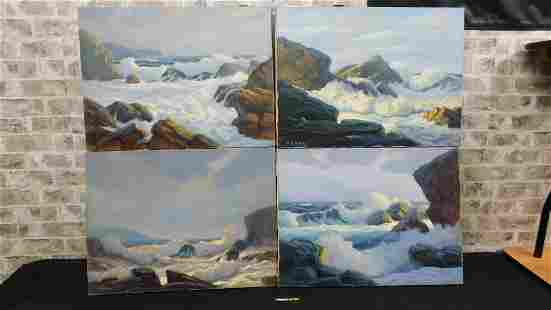 Lot of 4 Local New Jersey Artist George Hollaway Oil
