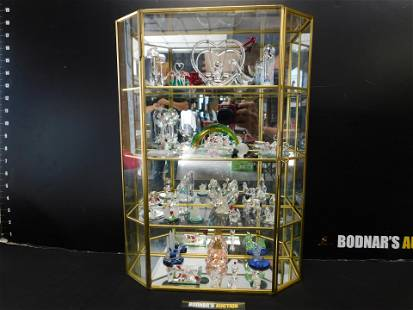 Large Lot of Miniature Crystal Figurines with Showcase