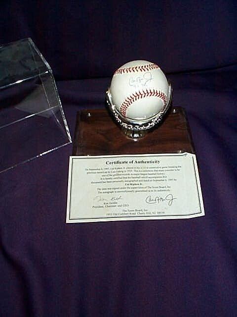 2: Signed autographed baseball by Cal Ripken Jr. Autogr
