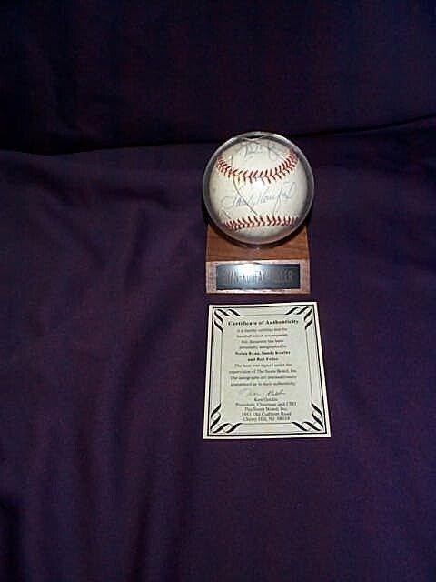 4: Signed autographed baseball by Nolan Ryan, Sandy Kou