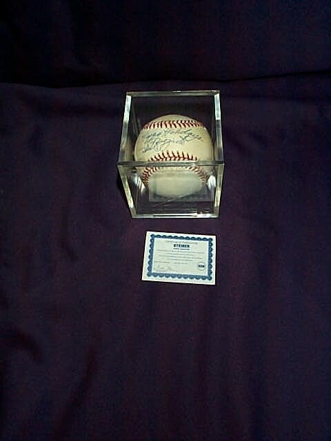 8: Autographed baseball Happy Holidays Phil Rizzuto, co