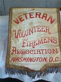 526: Early Fireman's presentation banner. Hand painted