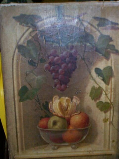 980: 19C. unframed oil on canvas still life painting de