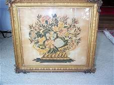 1063: 19th C. American Watercolor Theorem Painting on V