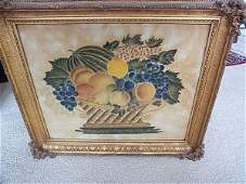 1064: 19th C. American Watercolor Theorem Painting on V