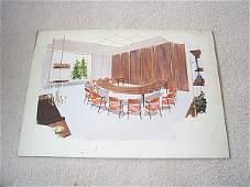 1101: Interior design watercolor sketch depicting an ex