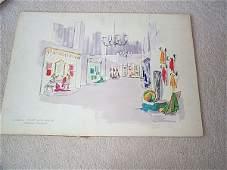 1105: Interior design watercolor sketch depicting retai
