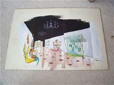 1106: Interior design watercolor sketch depicting retai
