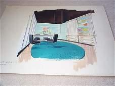 1107: Interior design watercolor sketch depicting loung