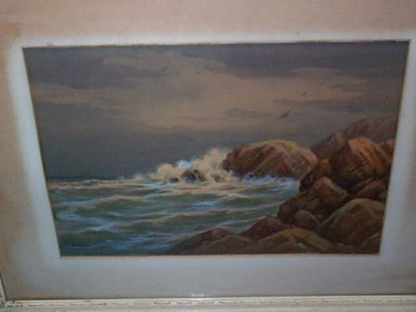 955: Water color depicting a rocky Ocean Coast scene wi