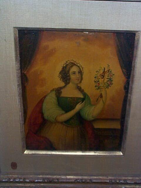 957: 19th century oil on board depicting a women wearin