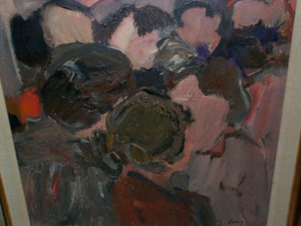 959: 20th century oil on canvas impressionist abstract