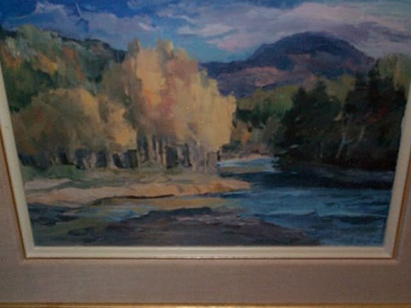 960: Oil on canvas impressionist landscape painting. Si