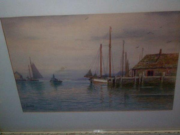 961: 20th century watercolor depicting an ocean harbor