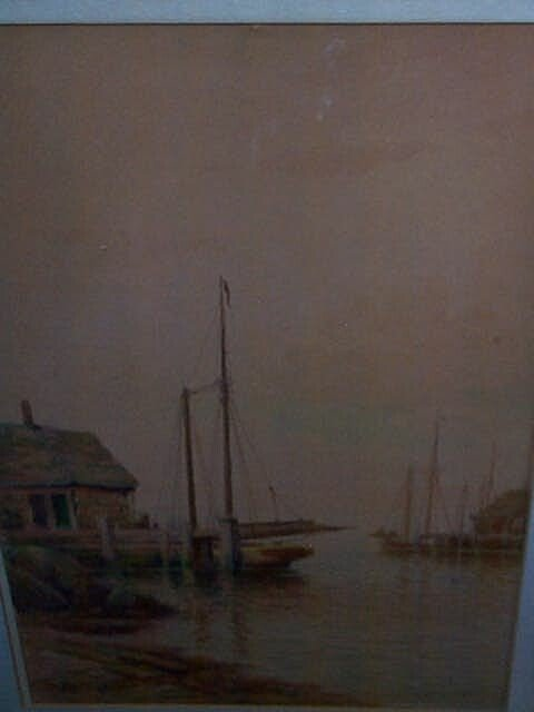 963: Early 20th century water color depicting a harbor