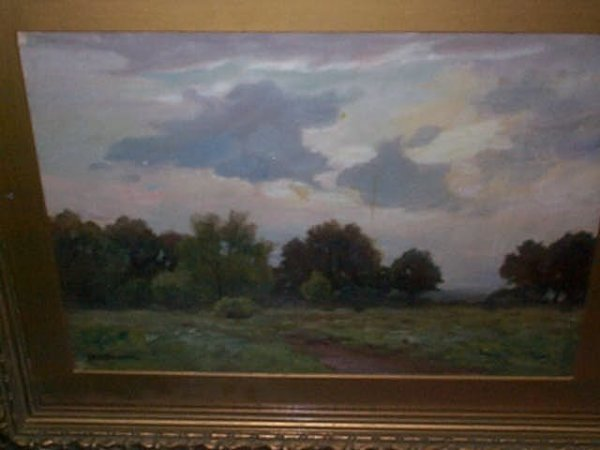 964: Oil on board impressionist painting of a landscape