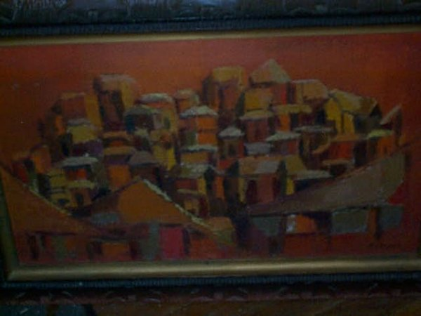 965: 20th Century oil on board abstract painting. Signe