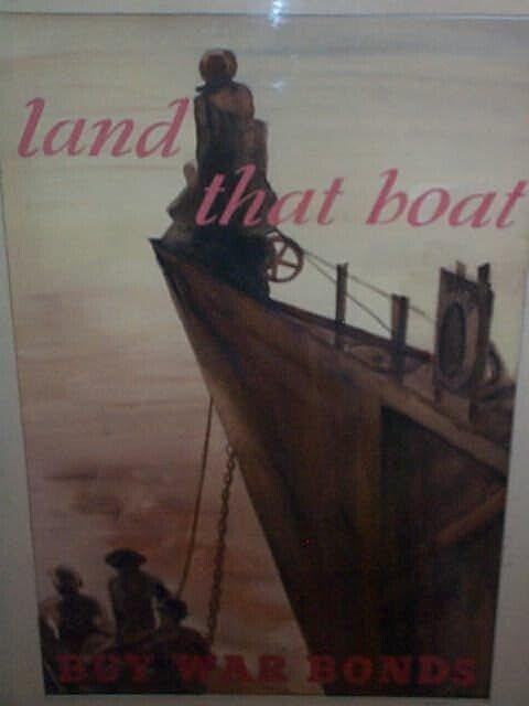 "966: Watercolor depicting a WWI Bond poster. States ""La"