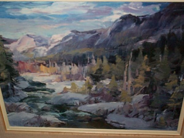 967: Oil on Canvas impressionist painting of a landscap
