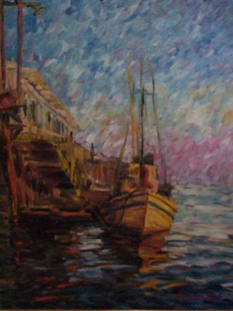 969: 20th Century oil on canvas impressionist painting