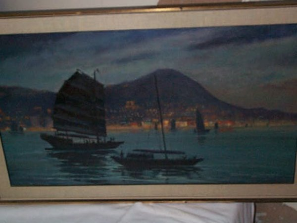 970: 20th Century oil on canvas depicting a Hong Kong n