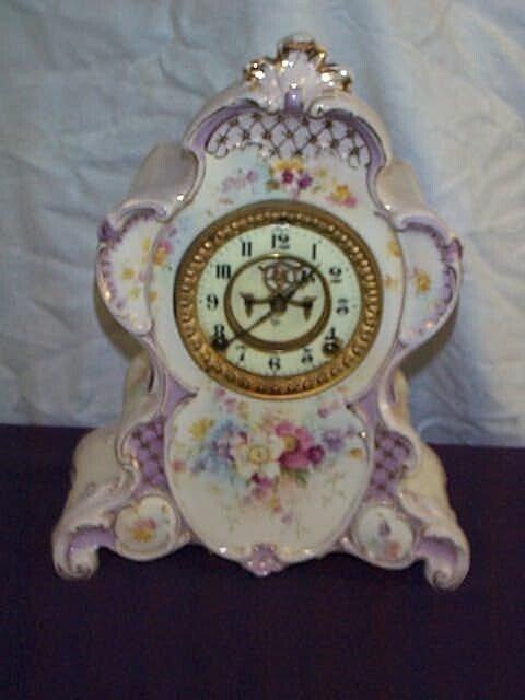 1A: Royal Bonn Porcelain Hand Painted Mantle Clock with
