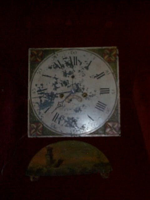 10A: 19th Century hand painted clock face and hand pain