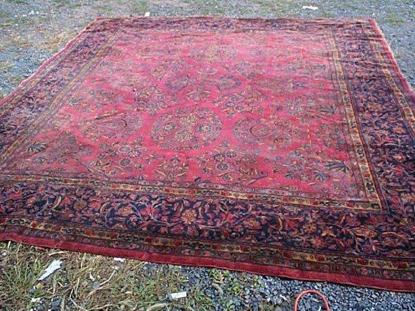 181: Antique Hand Made Room Size Sarouk Rug. Measures 1