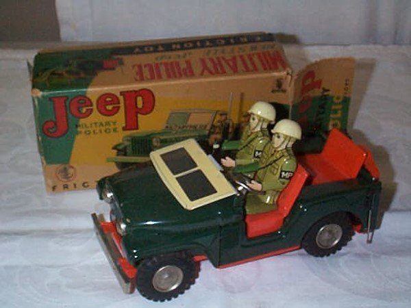 411: Japanese Friction Toy, Military Police Jeep. Near