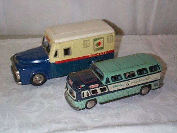 417: Lot of 2 Friction Toy Vehicles. Tin Litho US Mail