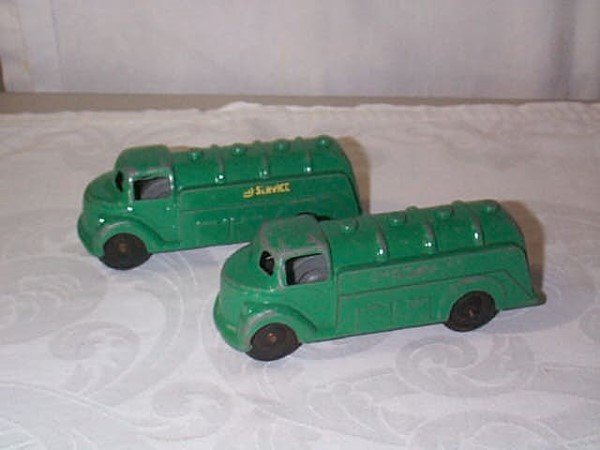 420: Lot of 2 Cast Iron Gas Tanker Trucks in green pain