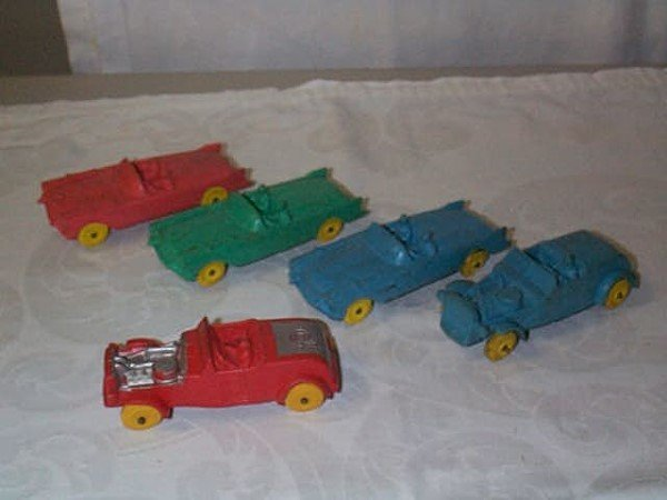 422: Lot of 5 Aurora Rubber Toy Cars including blue and